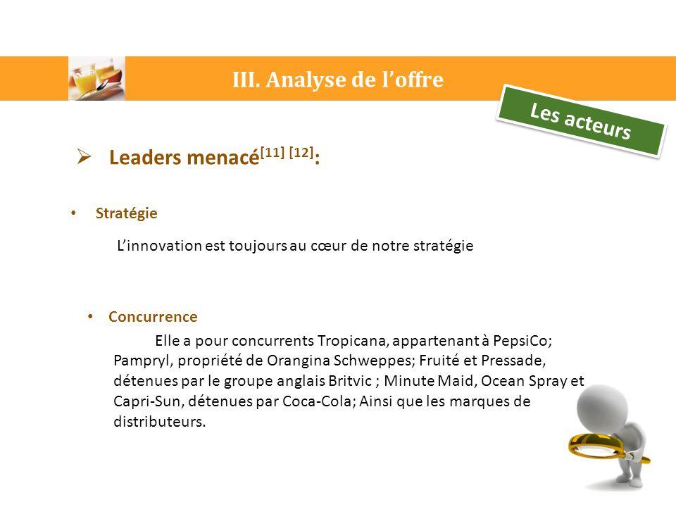 III. Analyse de l'offre Les acteurs Leaders menacé[11] [12]: Stratégie